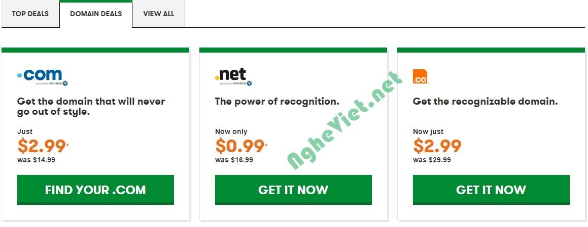 HotDeal - Godaddy giam gia domain .net