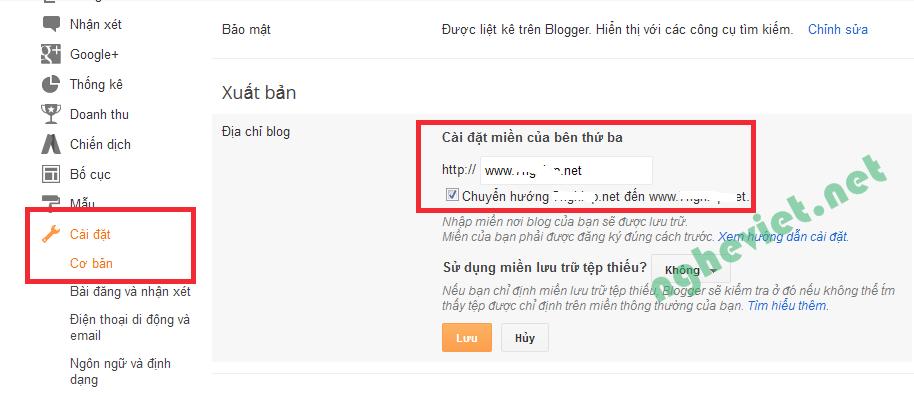 Khac phuc loi khong chuyen huong khi tao website trong blogspot
